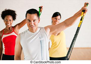 Gymnastics  training in gym