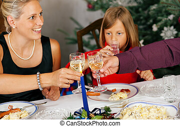 Family having Christmas Dinner