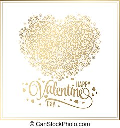 Greeting gold heart elements for design. Vector illustration. Bright illustration, can be used as greeting card, invitations for wedding, birthday, valentine's day .Paisley Doodle Flowers Design.