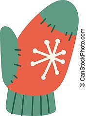 Christmas mitten vector illustration. - Christmas wool...
