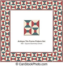 Antique tile frame pattern set Square Geometry Check