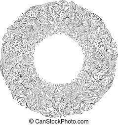 Coloring book pages for kids and adults. Hand drawn abstract design. Frame or plate design. Floral authentic circle frame design, joy to older children and adult colorists, vector illustration