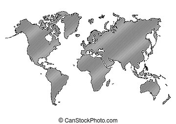 World map . outline and oblique line .