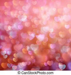 Bokeh background with hearts. EPS 10 - Color Bokeh on a red...