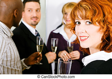 Reception with champagne - Group of people having a toast or...