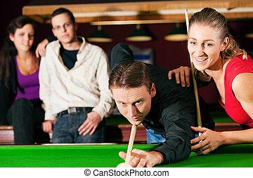 amigos, juego, billar, juntos