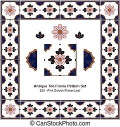 Antique tile frame pattern set Pink Golden Flower Leaf