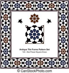 Antique tile frame pattern set Islamic Star Flower Square Cross