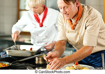 Chefs in a restaurant or hotel kitchen cooking - Two chefs...