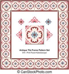 Antique tile frame pattern set Pink Flower Kaleidoscope