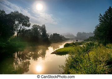 Moon light at night over river - Landscape with moon light...