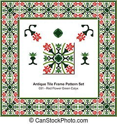 Antique tile frame pattern set Garden Red Flower Green Calyx