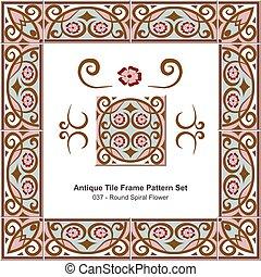 Antique tile frame pattern set Round Spiral Pink Flower