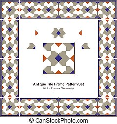 Antique tile frame pattern set Square Geometry