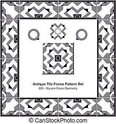 Antique tile frame pattern set Gray Square Cross Geometry