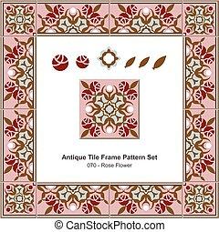 Antique tile frame pattern set Garden Pink Rose Flower