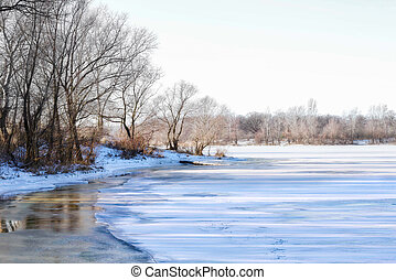 Frozen Water and Ice on the Dnieper River - Frozen Water,...