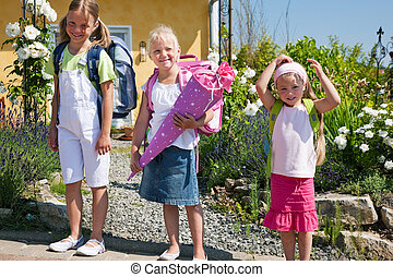Schoolchildren on their way to school