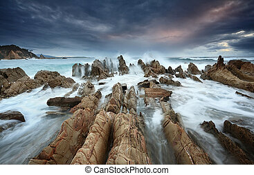 Barraga Bay Coastline with Wild Seas - Moody weather, wild...