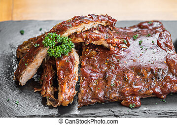 Grilled Pork ribs - Grilled Barbecued Pork Baby Back Ribs,...