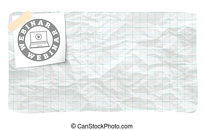 Vector graph paper and hand written webinar icon