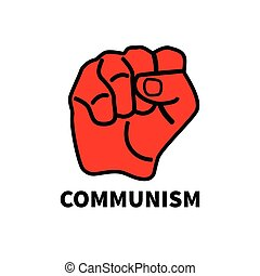 Red fist isolated on white background. Symbol of revolution,...
