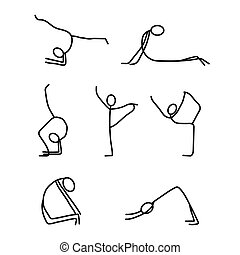 Cartoon icons set of sketch little people stick figures doing yoga
