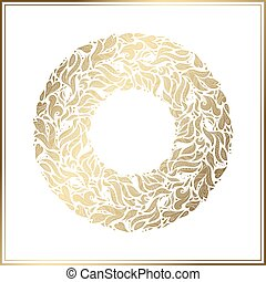 Gold round frame. Vector floral decoration made from swirl shapes. Greeting, invitation card. Simple decorative black and gold illustration for print, web.