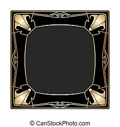 Vector art deco frame. - Vector art deco golden frame with...