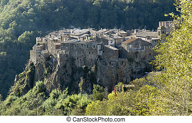 Calcata ancient town overview - view of Calcata ancient town...