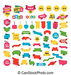 Special offer icons. Take two pay for one sign. - Web...