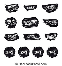 Special offer icons. Take two pay for one sign. - Ink brush...