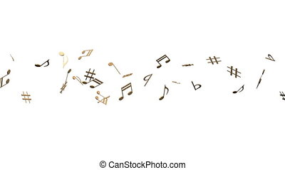 Brass Musical Notes On White Background. Loop able 3DCG...