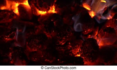 Close-up of burning coals 4K