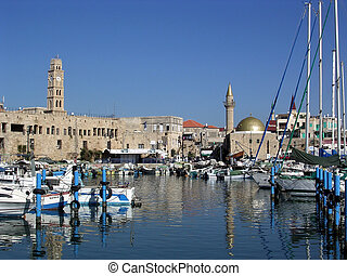Akko port November 2003 - Fishing harbor and Old City of...