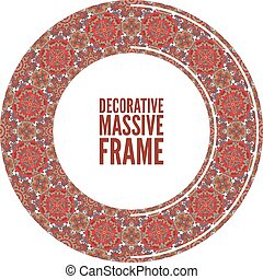 Colorful round ornamental frame, vector illustration,...