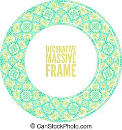 Colorful round ornamental frame, vector illustration, bright blue
