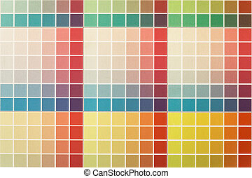 Very colorful test sheet printed with inkjet technique in a...