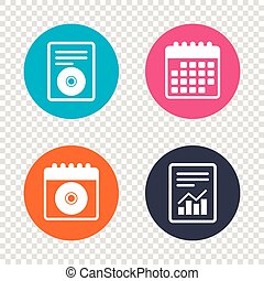 CD or DVD sign icon. Compact disc symbol. - Report document,...