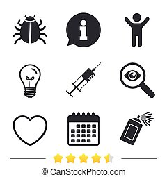Bug and vaccine signs. Heart, spray can icons. - Bug and...