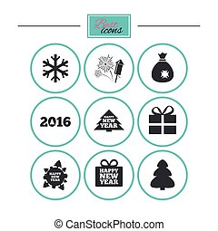 Christmas, new year icons. Gift box, fireworks. - Christmas,...
