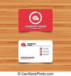 Chat Smile icon. Happy face symbol. - Business card template...