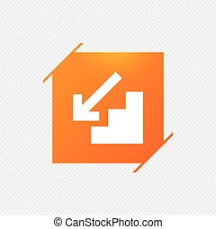 Downstairs icon. Down arrow sign. Orange square label on...