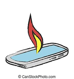 inflamed smart phone, vector icon