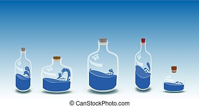 five bottles of water illustration