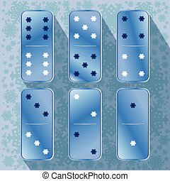 Domino icon illustration of six pieces snowflake. FOR USE...