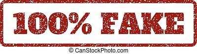 100 Percent Fake Rubber Stamp - Dark Red rubber seal stamp...