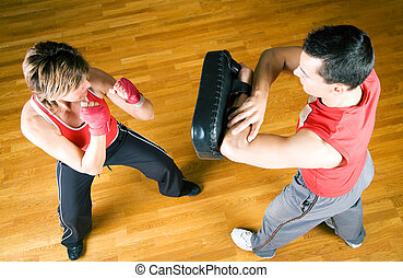 Martial Arts Sparring - Sparring session in martial arts...