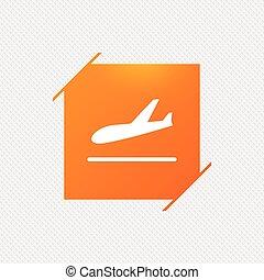 Plane landing icon. Airplane transport symbol.