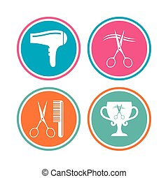 Hairdresser icons. Scissors cut hair symbol. Comb hair with...
